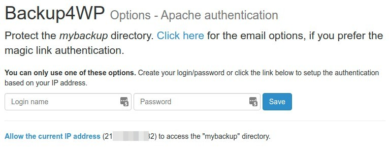 Backup4WP Apache authentication